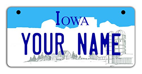 - BleuReign(TM Personalized Custom Name Iowa State Motorcycle Moped Golf Cart License Plate Auto Tag