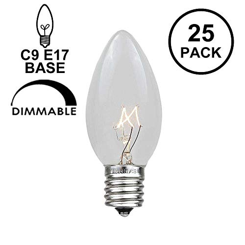 Novelty Lights 25 Pack C9 Outdoor Christmas Replacement Bulbs, Clear, E17/C9 Intermediate Base, 7 Watt -
