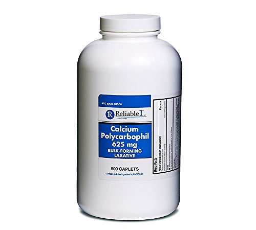 RELIABLE 1 LABORATORIES Calcium Polycarbophil 625mg Bulk Forming Laxative (500 Tablets)
