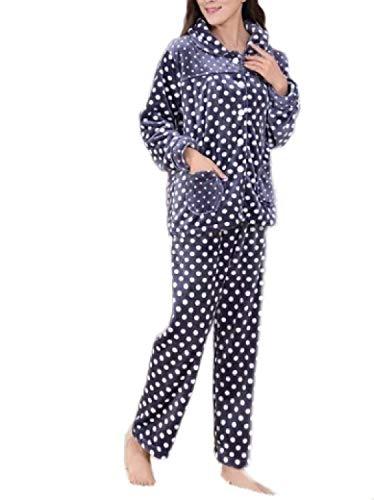 Sencillos Franela De Moda Lujo Larga Señoras Suave Azul Púrpura Pantalón Pijamas Top Conjunto Manga Pijama Y Noble wRXzY