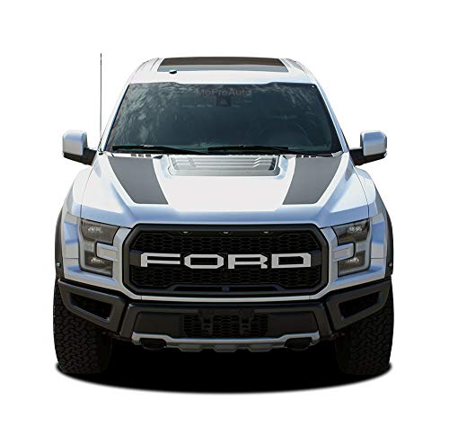 (MoProAuto Pro Design Series Velocitor Hood : 2018-2020 Ford F-150 Raptor Split Hood Stripes Vinyl Graphic 3M Decal Kit (FITS Raptor Models) (Color-3M 16812 Matte Black))