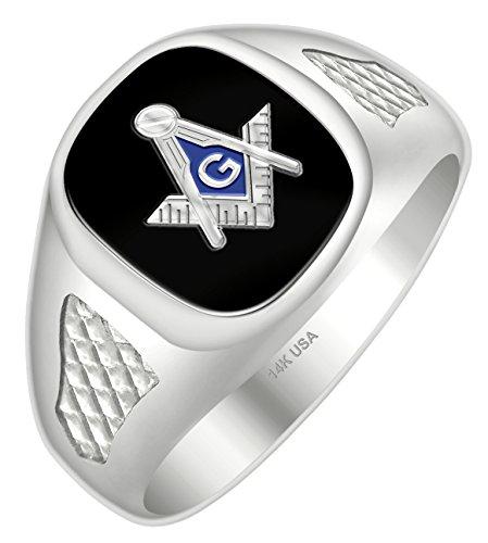 Men's Blue Lodge 14k White Gold Open Back Black Stone Freemason Masonic Ring Size 8 Mens Open Back Masonic Ring