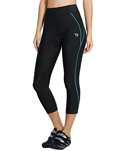 - Baleaf Women's 3D Padded UPF 50+ 3/4 Cycling Compression Tights Capris with Pocket Blue Line Size M