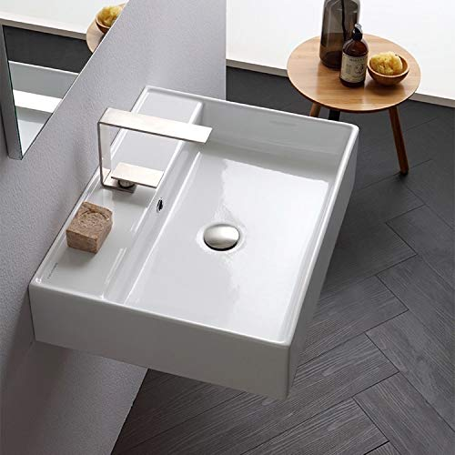 Scarabeo 8031 R-60-One Hole Teorema Rectangular Ceramic Wall Mounted Vessel Sink, White