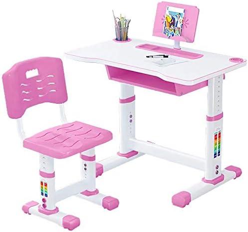 読書と描画ストレージを学ぶために子供の机子供の机と椅子セットの高さ調節子供の勉強机の椅子とテーブルセット、傾動可能と学生ワークステーション,ピンク