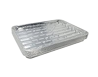 """Pack of 15 Disposable Aluminum Broiler Pans – Good for BBQ, Grill Trays – Multi-Pack of Durable Aluminum Sheet Pans – Ribbed Bottom Surface - 13.40"""" x 9"""" x 0.85"""""""