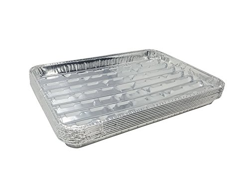 Aluminum Pans Broiler (Pack of 15 Disposable Aluminum Broiler Pans – Good for BBQ, Grill Trays – Multi-Pack of Durable Aluminum Sheet Pans – Ribbed Bottom Surface - 13.40