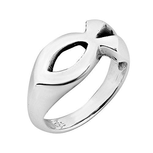 - AeraVida Gorgeous Christian Fish .925 Sterling Silver Ring (10)