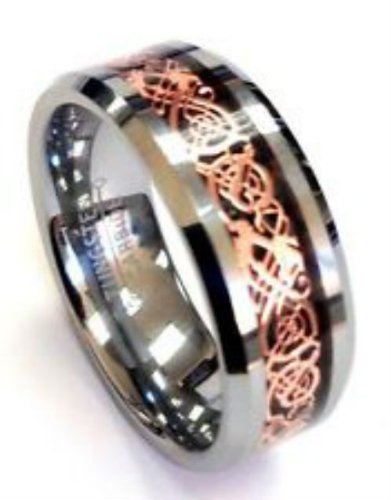 R4U Rose Gold Celtic Dragon Tungsten Carbide Wedding Band Ring 8mm