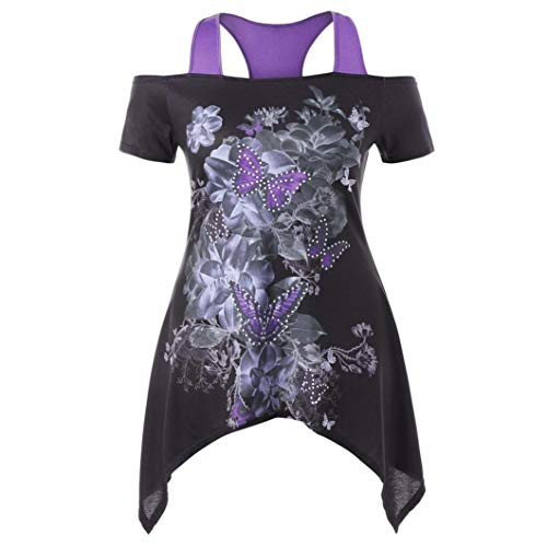 Femme Violet Women 3 Col Chemisier Kanpola Bustier 4 Rayures Mao Manches 6SqfBpBw