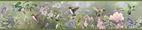 Chesapeake HTM48532B Ruby Moss Hummingbird Garden Wallpaper Border by Chesapeake ()