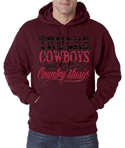 Trucks Cowboys and Country Music Funny Cute American Pullover Hoodie S-3XL - Maroon - L