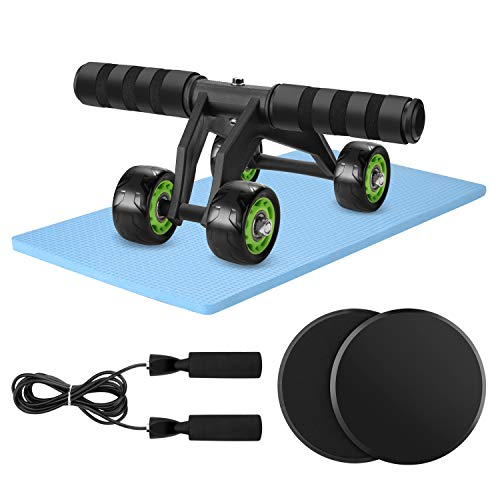 Odoland 4-in-1 AB Wheel Roller Set with Gliding Discs Jump Rope Knee Pad, Abdominal Exercise Equipment for Core Workouts