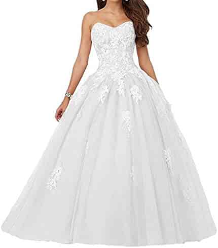 661b78bea6e Voteron Women s Beaded Lace Appliques Prom Dress Ball Gown Sweet 16  Quinceanera Dresses