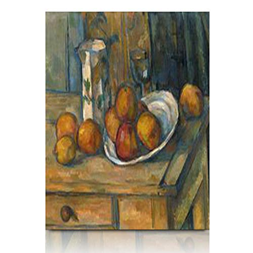 Armko Canvas Wall Art Prints Still Life Milk Jug Fruit by Paul Cezanne French Post Impressionist Painting Manmade Oil On Canvas 12 x 16 Inches Wooden Framed Painting Home Decor Bedroom Office