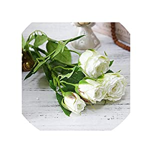 crystal004 4 Heads Artificial Flowers Long Stem Wedding Decoration Silk Rose Fake Flowers Plastic Branches with Leaves Home Hotel Decor,White 76