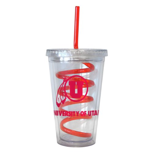 (Boelter Brands NCAA Utah Utes 16-ounce Tumbler with Swirl Straw)