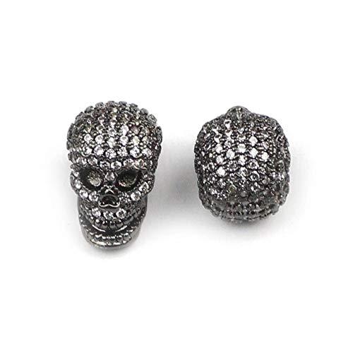 - Calvas Skull Pendant Copper Spacer Beads Micro Pave CZ Crystal Metal Charms Loose Beads Jewelry Bracelet Making DIY Accessories - (Color: Gun Black Plated, Item Diameter: 1pcs)