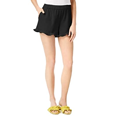 Maison Jules Pull-On Ruffle-Trim Shorts (Deep Black, XXL) at Women's Clothing store