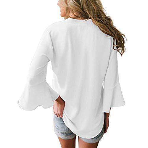 T Wanshop Solide Mousseline Manches dcontracte Longues en Chemisier pour Femme blanc Femme col V Vrac pour Shirt rrU0w7q