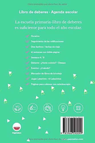 Amazon.com: PepMelon - Mi libro de deberes - Agenda escolar ...