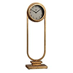 Tall Vintage Style Brass Gold Table Clock | Desk Top Retro Antique Metal