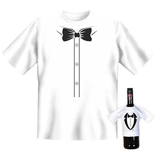 T-Shirt - Hemd und Fliege - Motivshirt - lustiges Sprüche Shirt für Leute mit Humor - Geschenk Set mit Funshirt und Minishirt
