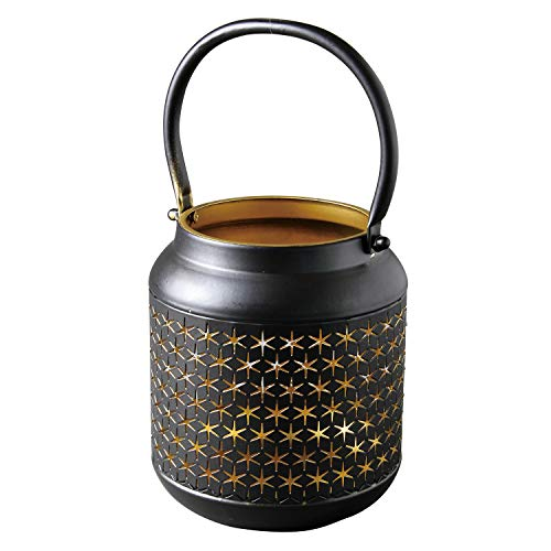 - Time Concept Iron Lantern with Circle Hook - Black, Star Cutout Pattern, Round-Shaped - Tealight Candle Holder, Indoor Home Decor