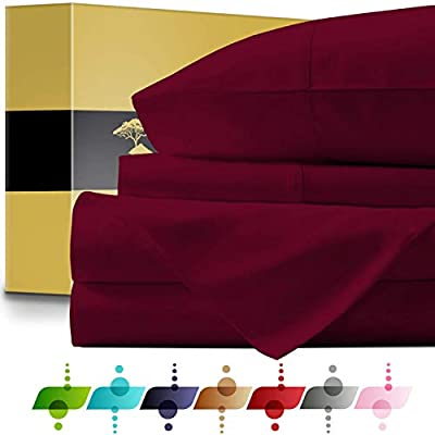 1000 Thread Count Egyptian Cotton Deep Pocket 6 PC Sheet Set Burgundy Color