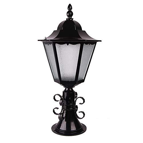 KMYX Outdoor Aluminium Path Lamp Bollard Lamp Fence Post Light Garden Column Pillar Light Bollard Super Bright Light Lamp E27 (Color : Black) ()