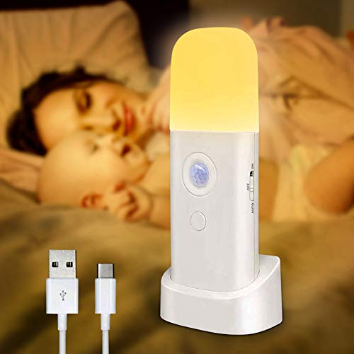 Motion Sensor Light Indoor, Portable Battery Powered Smart LED Night Light with Dusk to Dawn Sensor Auto/On/Off Adjustable Brightness Warm White Light for Bedroom,Kitchen,Stairs,Toilet,Hallway