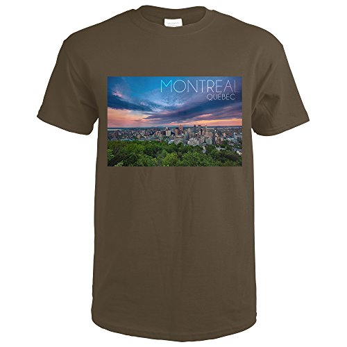 Quebec, Canada - Montreal Skyline at Night (Dark Chocolate T-Shirt X-Large) Montreal Chocolate