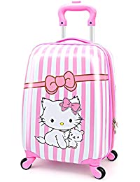 Kids Luggage Hardshell Lightweight Adjustable Handle Rolling Carry On Suitcase For Age 2+ Pink Cat
