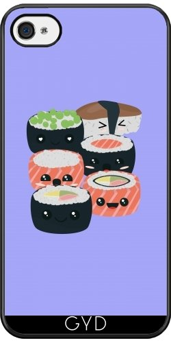 Coque Silicone pour Iphone 4/4S - Ensemble De Sushi Drôle by ilovecotton