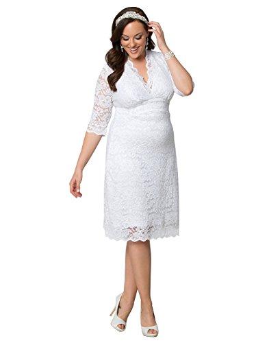 Kiyonna Women's Plus Size Luxe Lace Wedding Dress 1X White