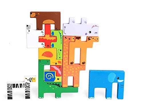 TKmom Animal Tetris Wooden Puzzle Toys, Preschool Educational Learning 3D Blocks, Stack Shapes Toy Games