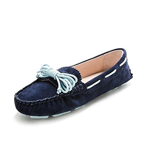 Vashop Kvinna Kilty Mocka Mockasin Platta Loafers Slips Båge Köra Promenad Båt Skor Navy