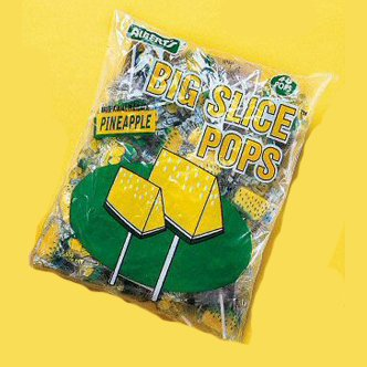 Big Slice Pineapple Pops, 48 Count (Big Slice Lollipops)
