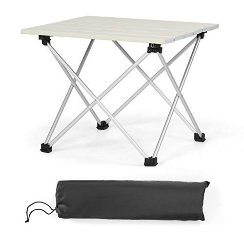COSTWAY Aluminium opvouwbare campingtafel 35 x 40 x 32cm, lichtgewicht klaptafel aluminium tafel, oprolbare…