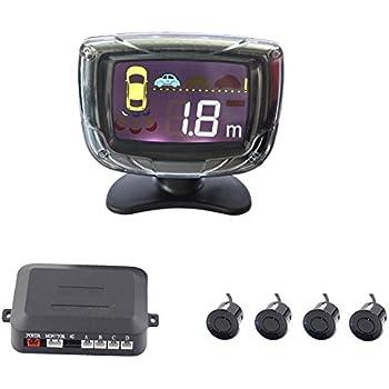 Car Parking Sensor Kit, Vehicle Reverse Backup Radar System with 4 Parking Sensors LCD Display Alarm/Buzzer Reminder