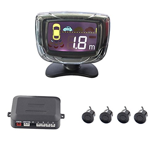 (Car Parking Sensor Kit, Vehicle Reverse Backup Radar System with 4 Parking Sensors LCD Display Alarm/Buzzer Reminder)