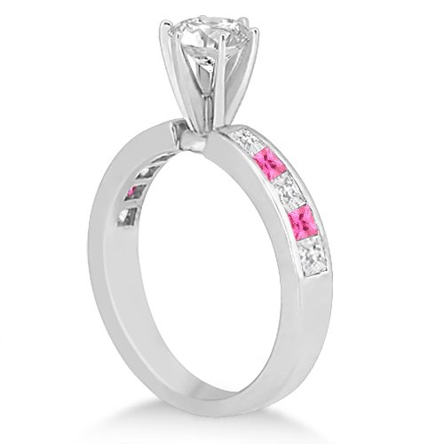 Canal Pink Sapphire & Diamond Bridal Set Palladium (1.30ct): Allurez: Amazon.es: Joyería