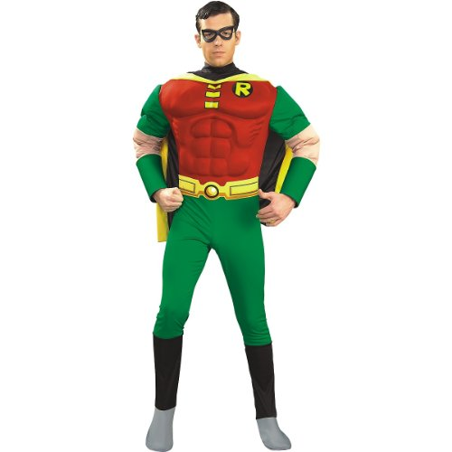 [DC Comics Deluxe Muscle Chest Robin Adult Costume, Medium] (Batman And Robin Movie Costumes)