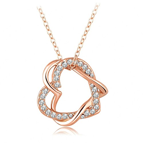 - IXIQI 9ct Rose Gold Plated Infinity Love Heart Cubic Zirconia Necklaces Free Gift Box 45cm Chain