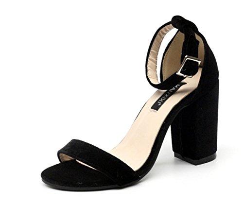 YCMDM oro de solo Simple tacón palabra hebilla terciopelo sandalias zapatos alto zapatos de black de Suede Mujeres rf0Y4r