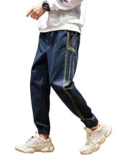 Casual Sport Righe Slim Elastica A Cintura Di Jogging Pantaloni Fit Navy Uomo Hfqdxg7q