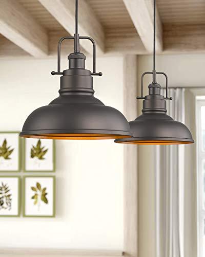 Zeyu Farmhouse Pendant Light, 1-Light Industrial Hanging Light Fixture 11-inch, Oil Rubbed Bronze Finish, 016-1 ORB