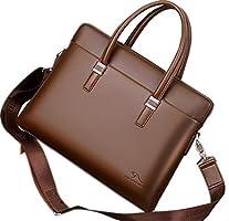 Men's Laptop Bag - 14 inch Business Leather Messenger Bag Briefcase (14 inch, Brown)