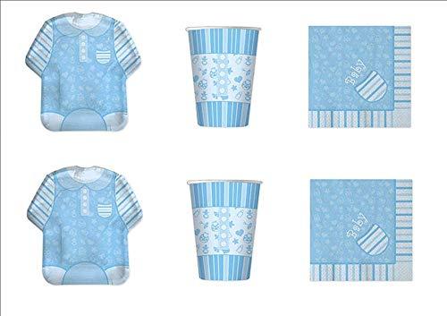 COORDINATO BAMBINO BABY SHOWER NASCITA BATTESIMO PRIMO COMPLEANNO CELESTE ADDOBBI FESTA - kit n°1 Cdc- (8 PIATTI, 8 BICCHIERI, 16 TOVAGLIOLI) casa dolce casa