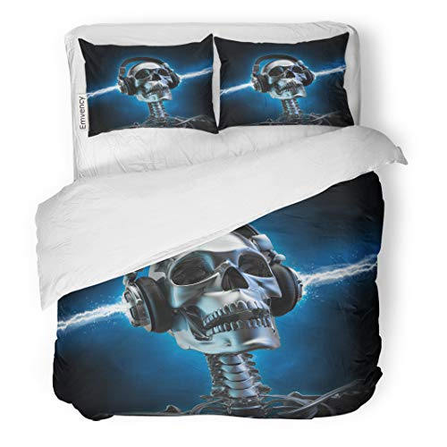 Semtomn Decor Duvet Cover Set Twin Size Blue Rock Soul Music Skull Skeleton Party Headphone Metal 3 Piece Brushed Microfiber Fabric Print Bedding Set -